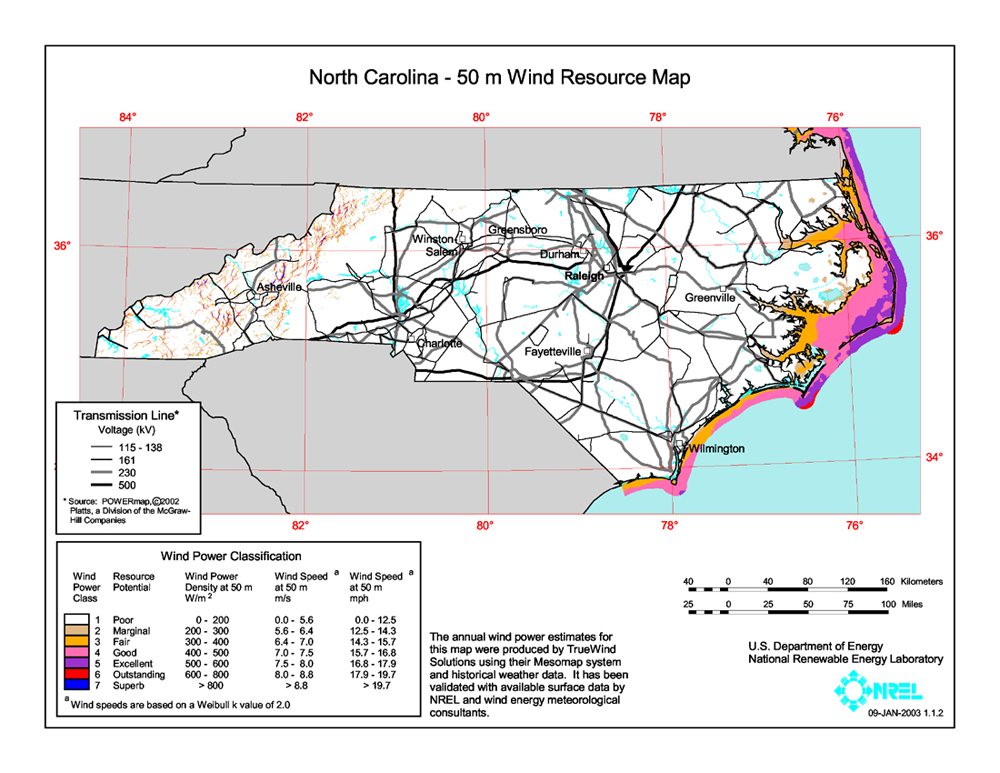 north caorlina wind map