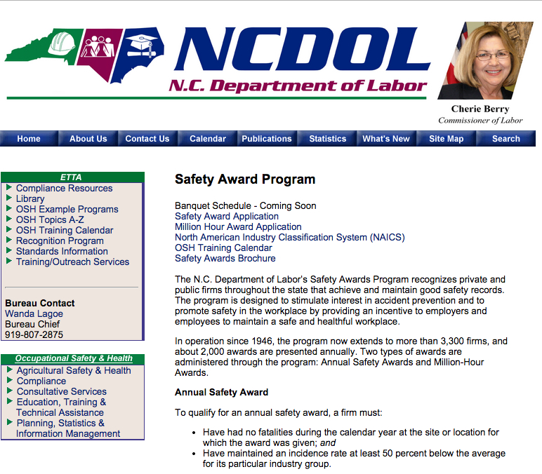 NCDOL Safety Awards
