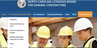 nc licensing board general contractors