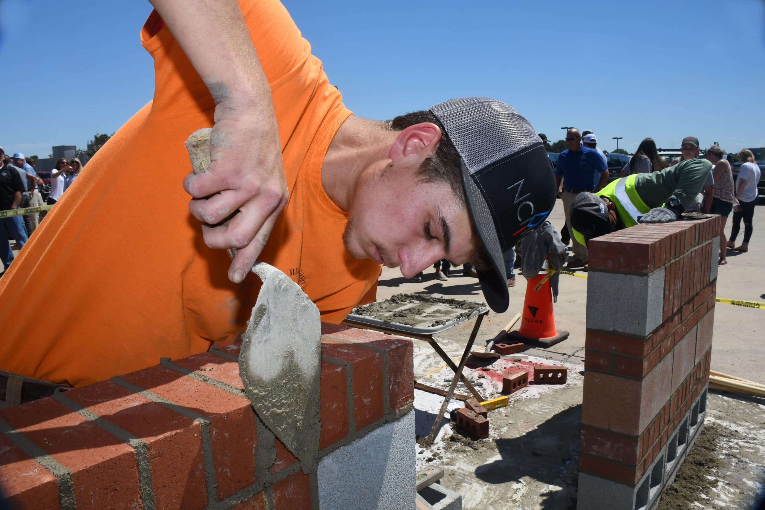 rant Helms puts the finishing touches on his contest project at the Annual NCMCA Samuel A. McGee Masonry Apprentice Skills Contest